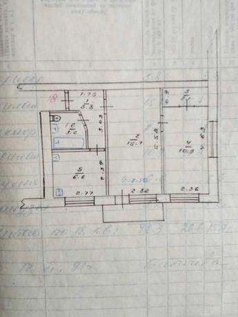 Продам 2-к, Б. Пушкина 7. Под ремонт. Площадь 42,3 кв.м.