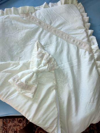 Конверт на выписку лето жёлтый плед одеяло