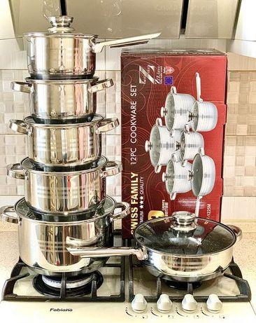 Набор кастрюль. Swiss Family посуда на 12,18 предметов.9ти слойное дно