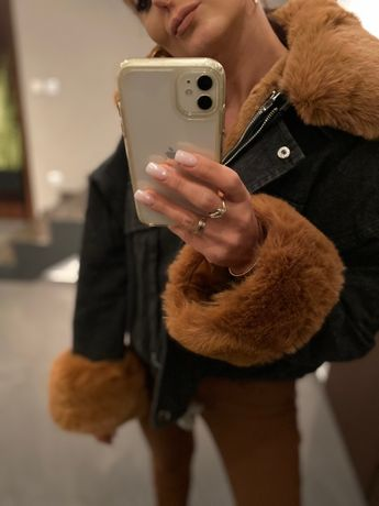 Czarna Kurta jeansowa oversize katana z futrem camel S/M M/L