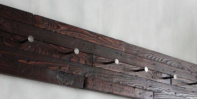 Wieszak na ręcznik i kubki, lub ubrania rustykalny, postarzany drewno