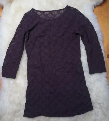 Ciemnobrązowa koronkowa bluzka tunika z rękawem 3/4 (rozm. S/M)