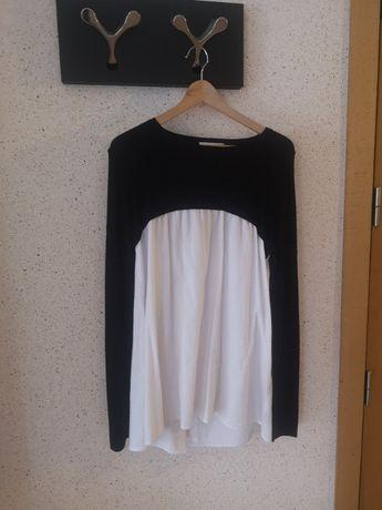 Blusa/Túnica , Preto e Branco, tecido combinado, Zara, tamanho S