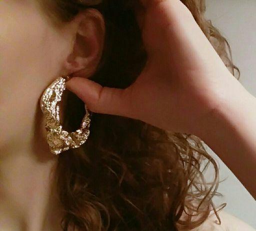 Nowe piękne kolczyki ASOS złote duże trendy modne