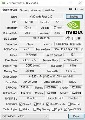 Видеокарта Geforce 210