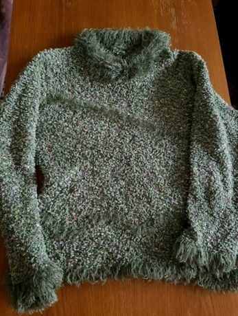 NOWY SWETER sweterek zara zielony SWETER fluffy miękki sweterek bluzka