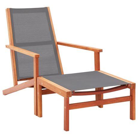vidaXL Cadeira de jardim c/ apoio pés eucalipto maciço/textilene cinza 48696