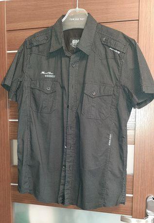 Czarna koszula z krótkim rękawem M-L