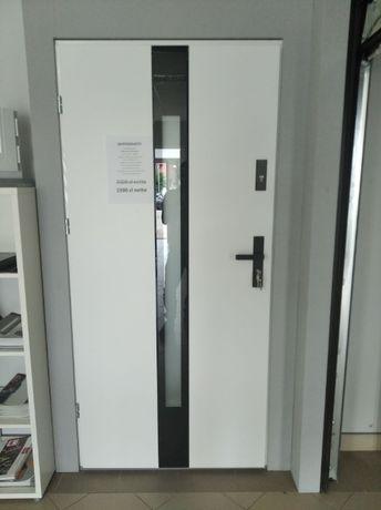 """Drzwi zewnętrzne """"90"""" lewe, białe, stalowe 72mm"""