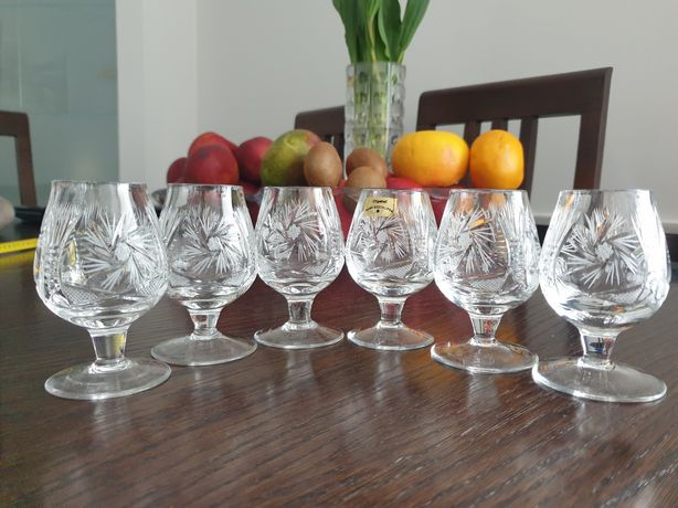 Krysztalowe kieliszki do wódki lub nalewki - 6 szt.