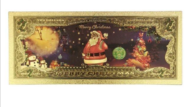 Prezent Boże Narodzenie. Złoty banknot. Super pomysł od św. Mikołaja