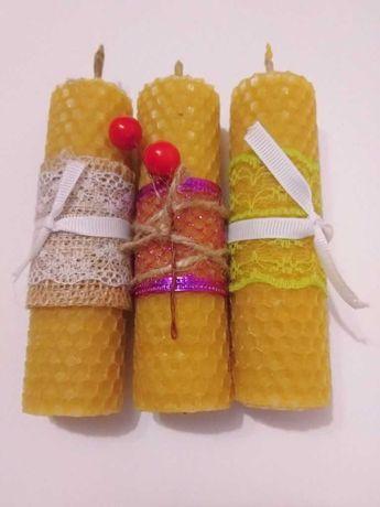 Медовые свечи из натурального воска и вощины