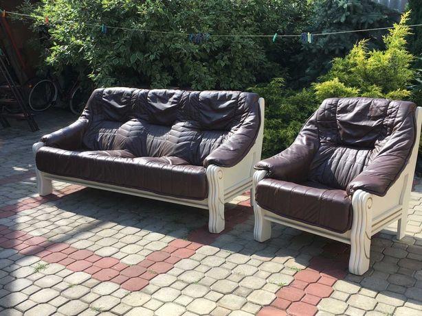 Кожаный диван тройка и кресло натуральная кожа и дерево офисный