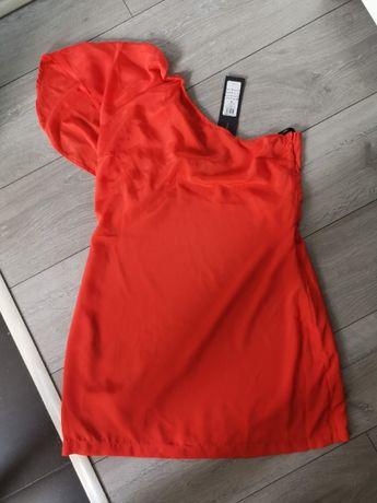 Vero Moda sukienka mini jedno ramię zwiewna r. 42