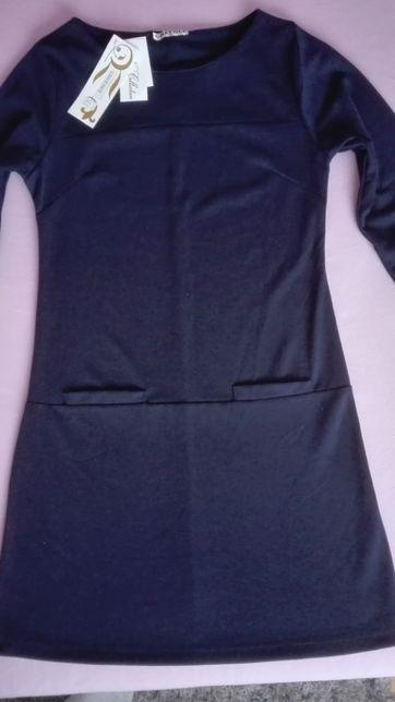 nowa sukienka dzianinowa granatowa, rozmiar s/m
