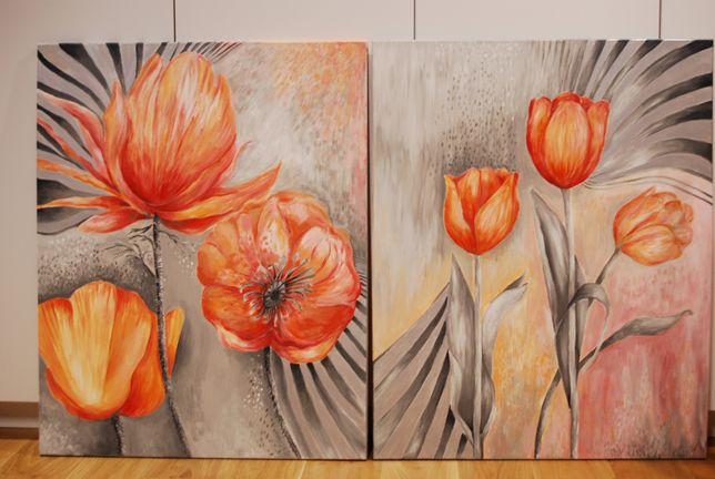 Obraz akrylowy ręcznie malowamy abstrakcja 'Kwiaty'