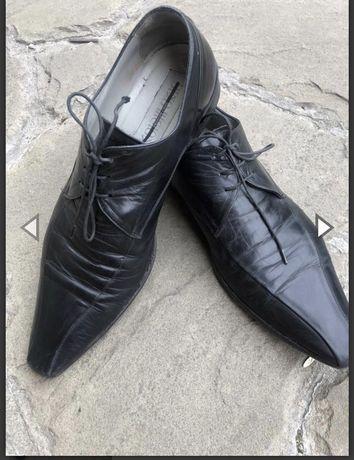 Туфли мужские Италия , кожа , черные, 42