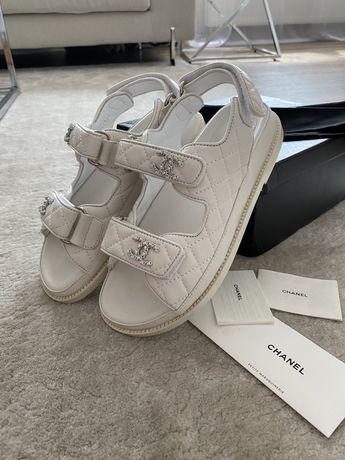 Sandały białe Chanel 37 pudełko 24 cm