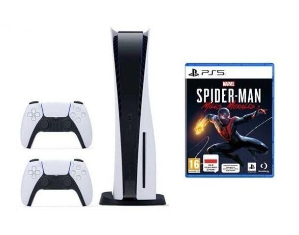 PlayStation 5 z napędem plus drugi pad i gra Spiderman Miles Morales