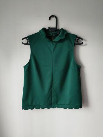Bluzka elegancka baskinka butelkowa zieleń