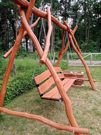 Huśtawka dębowa ogrodowa drewniana nowa