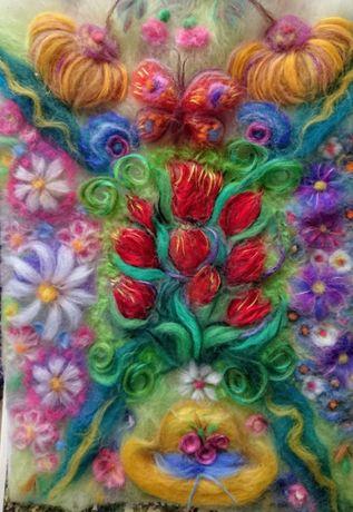 Картина вовняна (шерстяна) акварель З весни у літо, Пори року