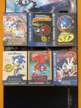 Conjunto 6 jogos megadrive Sonic the Hedgehog
