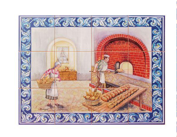 NOVO Painel de Azulejos Forno a Lenha de Pão Padaria Padeiros 60x45 CM
