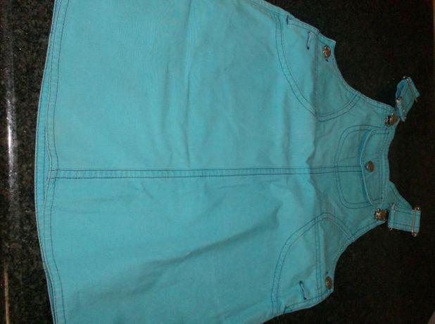 Vestido azul, marca Cenoura, 5-7 anos