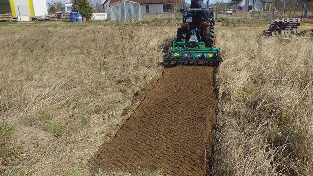 Usługi minitraktorem z glebogryzarka separacyjna, zakładanie trawnika,