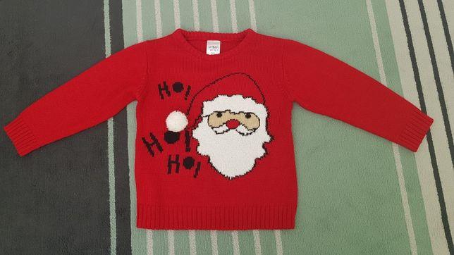 Sweter sweterek świąteczny Mikołaj 110cm