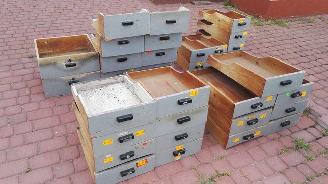 (31 szt.) Szuflada drewniana, szafka katalogowa, apteczna, loft, PRL