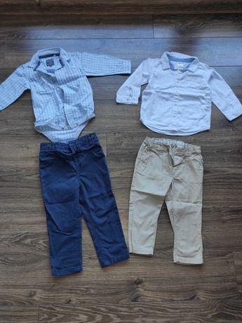 Elegancki komplet dla chłopca spodnie i koszula r. 86