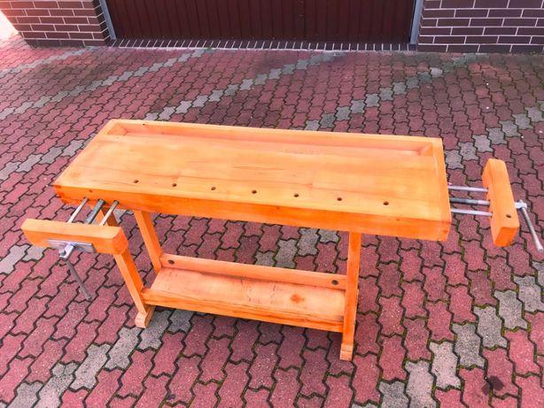 Stół stolarski bukowy masywny z dwoma imadłami