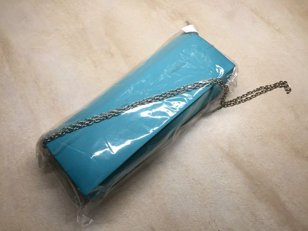 torebka kopertówka nowa turkusowa z lusterkiem