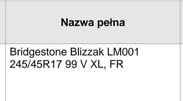 Opony zimowe 245/45 R17 Bridgestone blizzak LM001 stan bardzo dobry