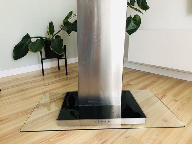 Srebrny pochlaniacz okap z szyba 90cm