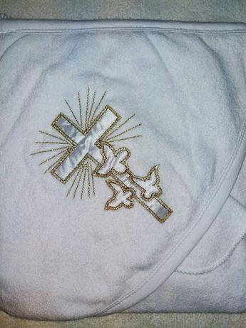 Крыжма белая, махровое полотенце для крещения с уголком