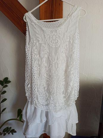 Sukienka Boho ażurowa koronkowa r. S biała letnia z falbankami