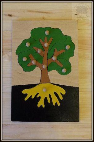 Zabawki montessori, układanka drzewo, Montessori, puzzle