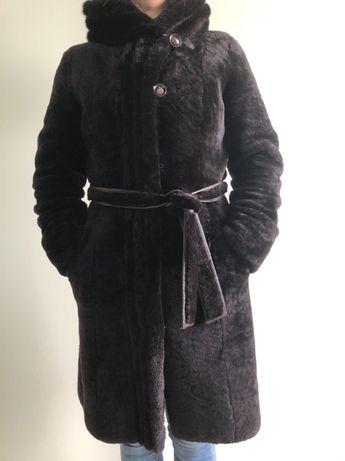 женская натуральная шуба мутон с норкой размер 36 38