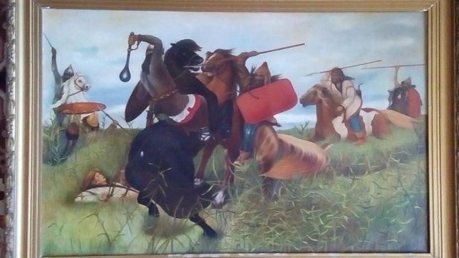 1000 р.! картина маслом 123х85 Васнецов Бой скифов со славянами не ори