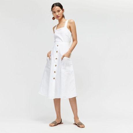 Белый льняной сарафан платье не mango/zara