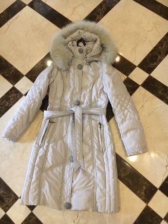 Плащ, куртка зимова, зимняя. Пуховик з натуральним мехом