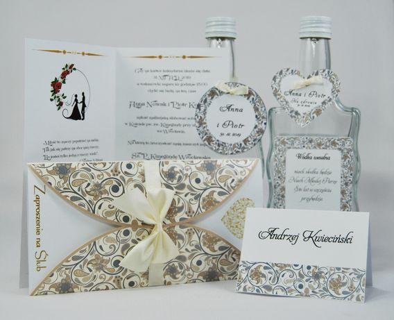 Zaproszenia ślubne - ECRU KWIAT + koperta