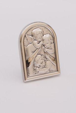 Obrazek posrebrzany z aniołkami, 6x4,5 cm