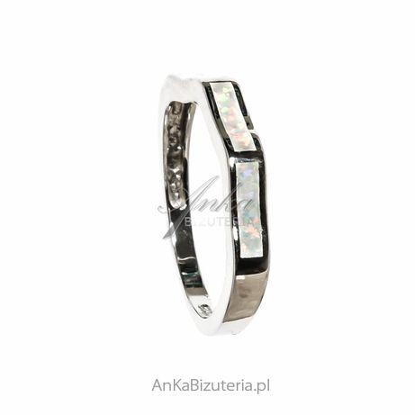 ankabizuteria.pl kolczyki niezapominajki Pierścionek srebrny z białym