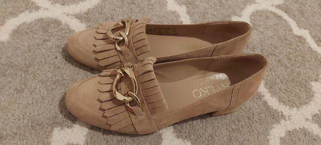 Buty damskie mokasyny skóra naturalna zamszowe beżowe Ryłko 38