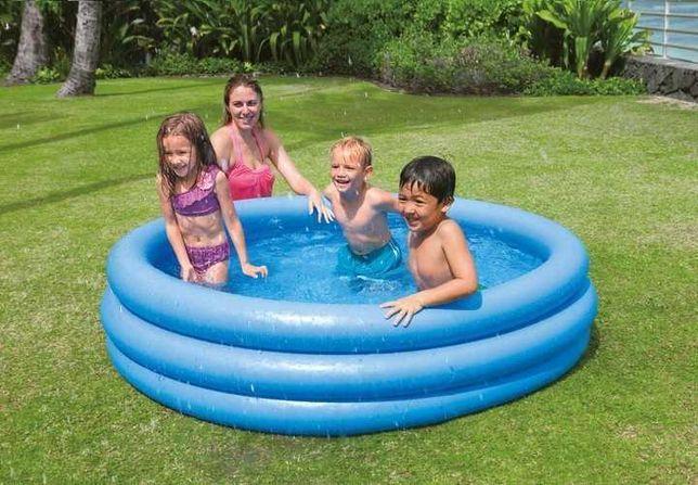 Dmuchany Basen dla dziecka okrągły 150x50 cm 3 komorowy basen ogrodowy