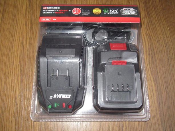 2 пристрої Parkside: Акумулятор 2Ah PAP 20 A1 та зарядка PLG 20 A1